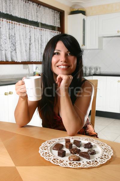 Stockfoto: Vrouw · chocolade · koffie · meisje · drinken · thee