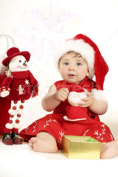 Christmas child playing Stock photo © lovleah