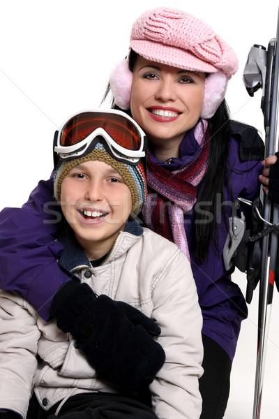 Winter vakantie reis glimlachend mensen ski Stockfoto © lovleah