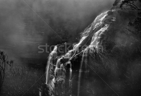 Misty Waterfall Blue Mountains Stock photo © lovleah