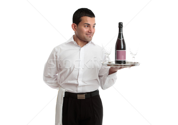 Waiter or servant looking at wine product Stock photo © lovleah