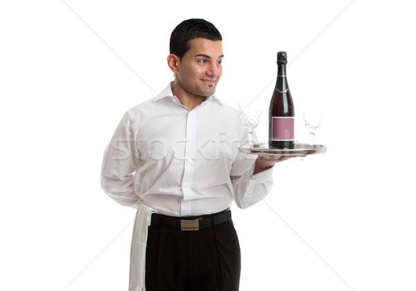 Pincér szolgáló néz bor termék csapos Stock fotó © lovleah