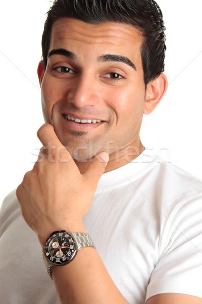Happy smiling man wearing watch Stock photo © lovleah