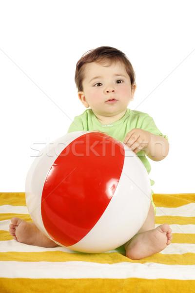 Bebé toalla de playa pelota sesión a rayas jugando Foto stock © lovleah