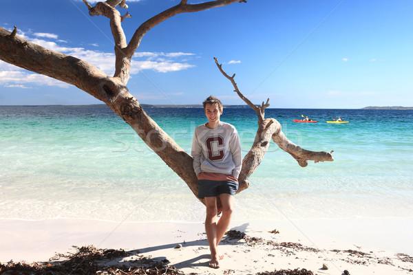 ストックフォト: 代 · 少年 · 熱帯ビーチ · レジャー · 休暇
