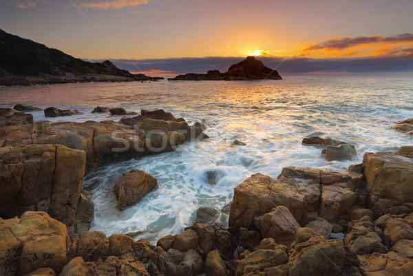Sunrise roches parc soleil derrière Photo stock © lovleah