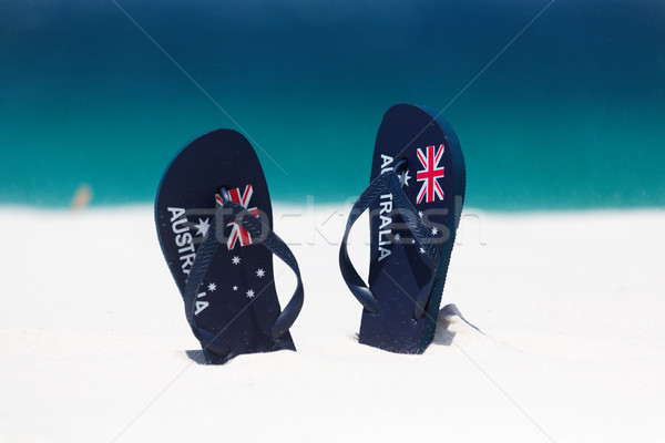 Australia Flag thongs in the sand by the beach in summer Stock photo © lovleah