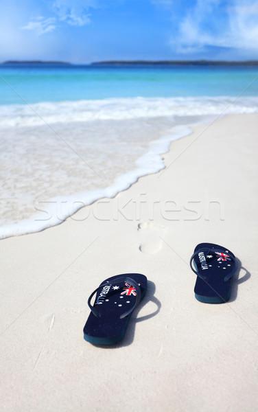 Australiano bandeira praia férias celebração Foto stock © lovleah
