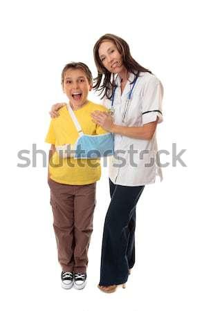 Nurse and happy patient Stock photo © lovleah
