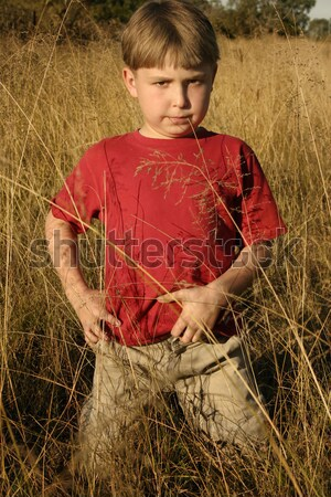 Boy standing in tall grasses Stock photo © lovleah