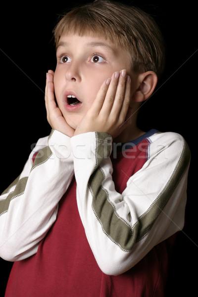 Ijedt megrémült fiú gyermek fiatal srác film Stock fotó © lovleah