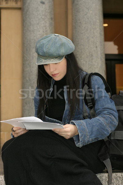 University or college student reading papers Stock photo © lovleah