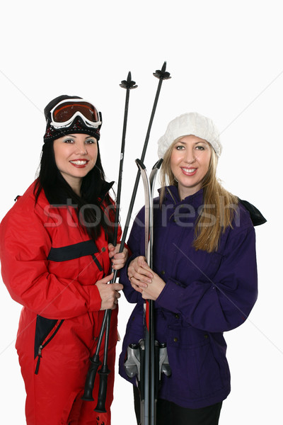 Two women with skis Stock photo © lovleah