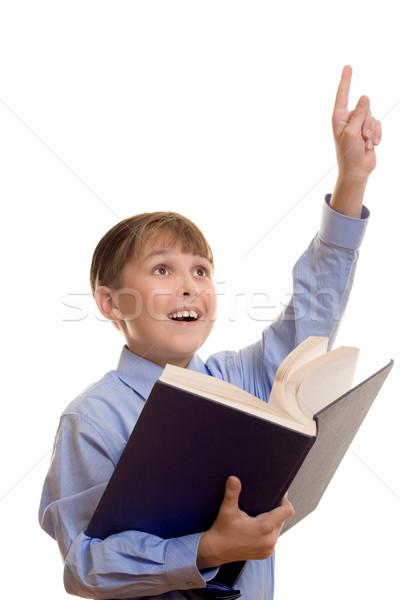 Opgewonden student schooljongen arm Stockfoto © lovleah