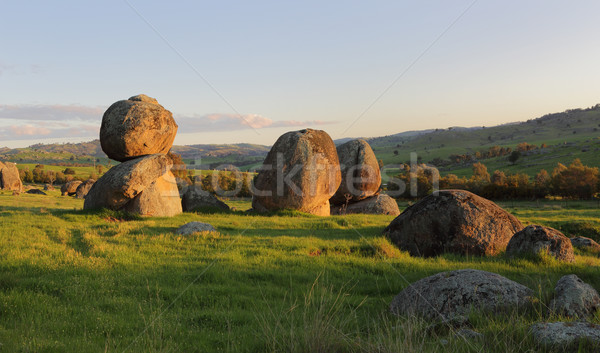 Balancing stones across the landscape Stock photo © lovleah