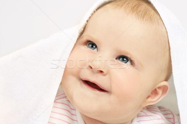美しい 赤ちゃん 青い目 愛らしい バス タオル ストックフォト © lovleah