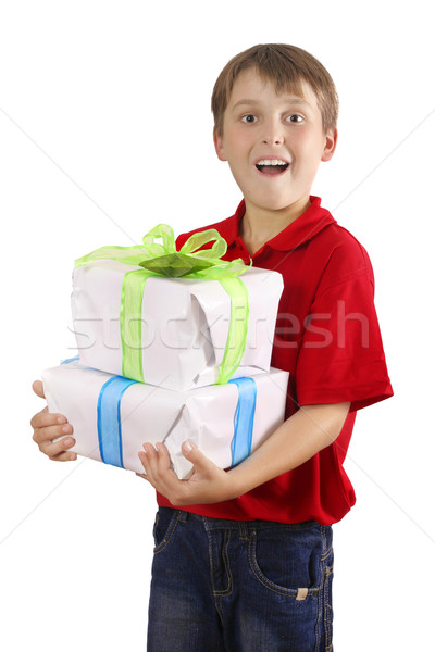 Boy carrying wrapped presents, gifts Stock photo © lovleah