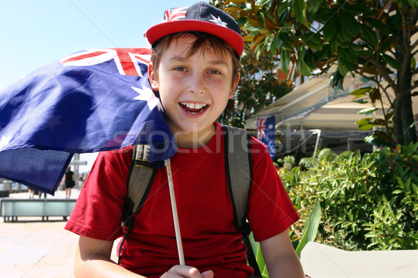 Joyful child flying flag Stock photo © lovleah