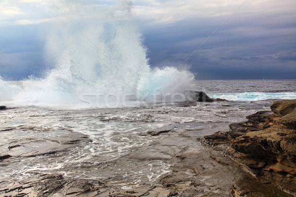 Huge Stormy Weather Ocean Splash Stock photo © lovleah