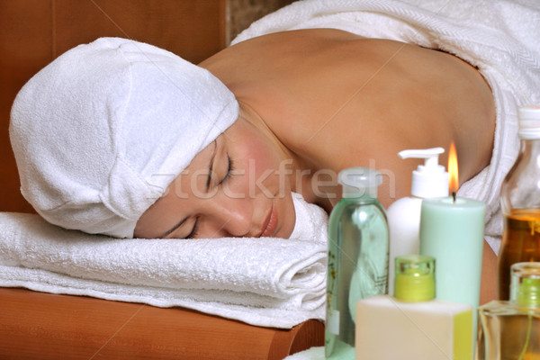 Female enjoying beauty therapy at dayspa Stock photo © lovleah