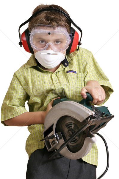Stock photo: Little boy with big tools