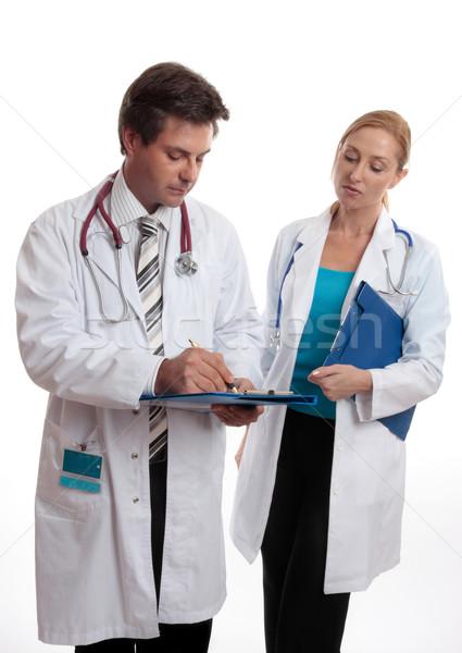 Kettő orvosok megbeszélés megbeszél orvosi gyengélkedés Stock fotó © lovleah