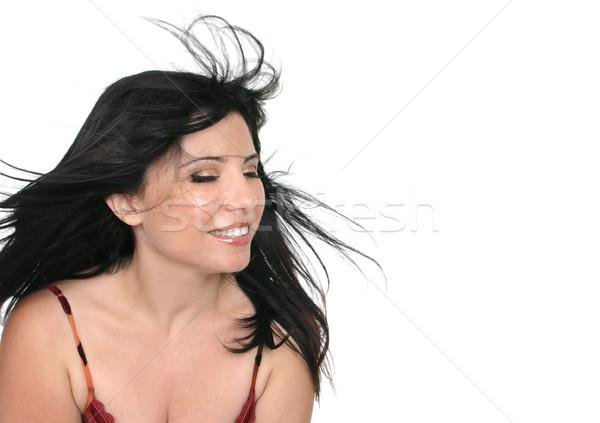 Barna hajú nő hosszú haj fúj lány Stock fotó © lovleah