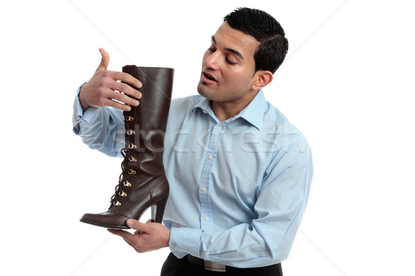 靴 セールスマン ブート ストア 革 ストックフォト © lovleah