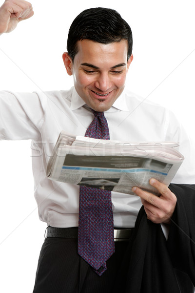 Businessman punching air with excitement Stock photo © lovleah