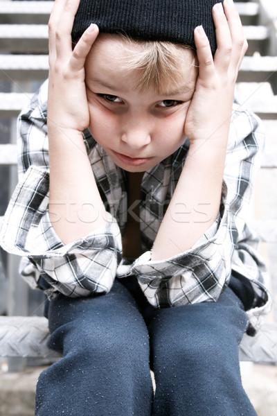 улице Kid чувство беспомощный депрессия огня Сток-фото © lovleah