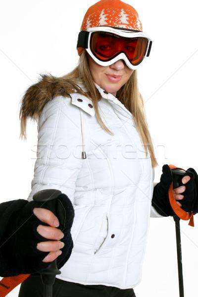 Stockfoto: Winter · vrouw · sneeuw · seizoen · ski · hoed