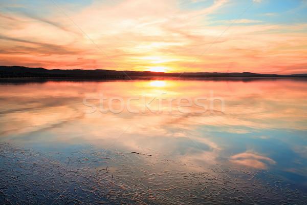 Sansasyonel gün batımı uzun Avustralya su Stok fotoğraf © lovleah