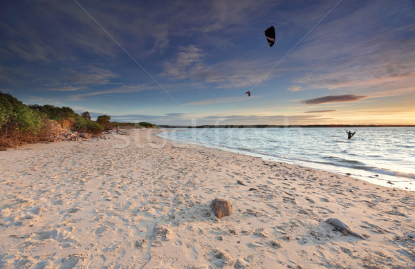 Kite Surfers at sunset on Silver Beach, Botany Bay Australia Stock photo © lovleah