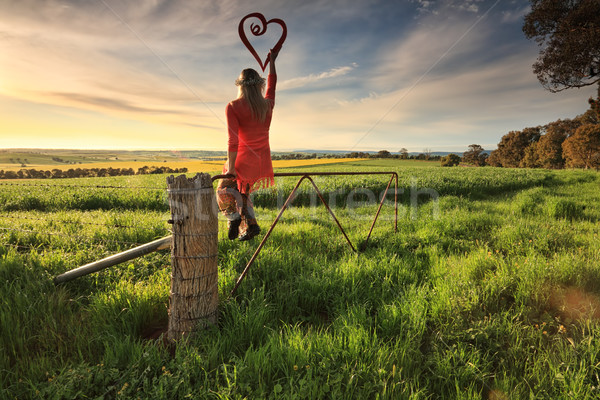 Escape to the Country - female on fence with love heart in morni Stock photo © lovleah