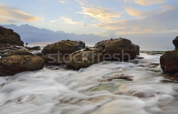 Strong foreground rock flows at Wollongong  Stock photo © lovleah