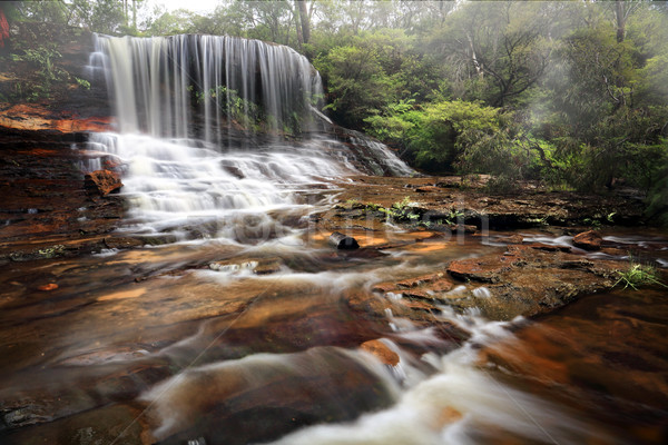 Rock waterval rustig weelderig hier Stockfoto © lovleah