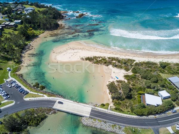 Patak óceán öt km száj népszerű Stock fotó © lovleah