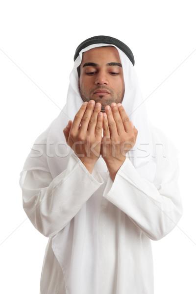 Arap adam açmak avuç içi dua eden orta doğu Stok fotoğraf © lovleah