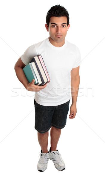 Männlich stehen Lehrbücher ein Arm Stock foto © lovleah