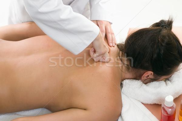 Mély papírzsebkendő masszázs nő dagasztás egészség Stock fotó © lovleah