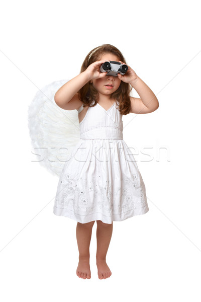 Heavenly angel looking watching through binoculars Stock photo © lovleah