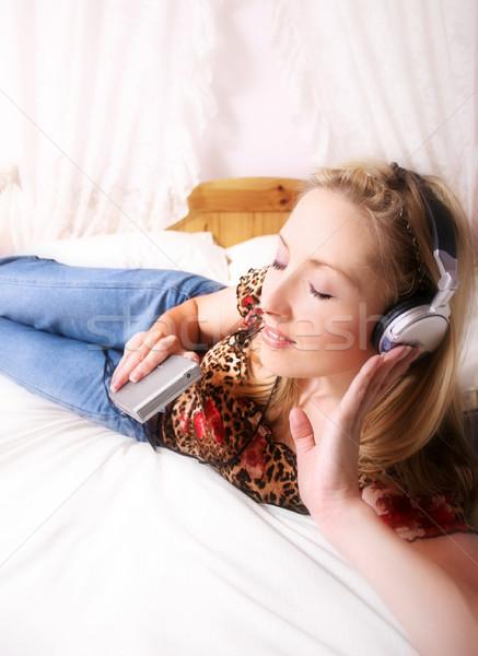 Relaks muzyki domu kobiet kobieta dźwięku Zdjęcia stock © lovleah