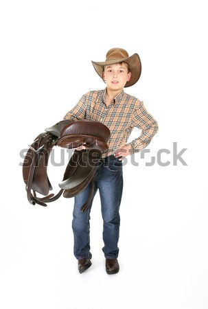Young rider holding a saddle Stock photo © lovleah