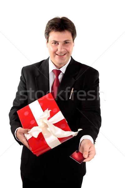 Stockfoto: Man · kopen · aanwezig · gift · card · krediet · debit · card
