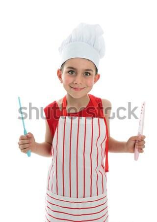 Boldog gyermek szakács remek fiatal visel Stock fotó © lovleah