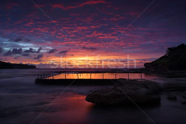 Hajnal kő medence hosszú Sydney Ausztrália Stock fotó © lovleah