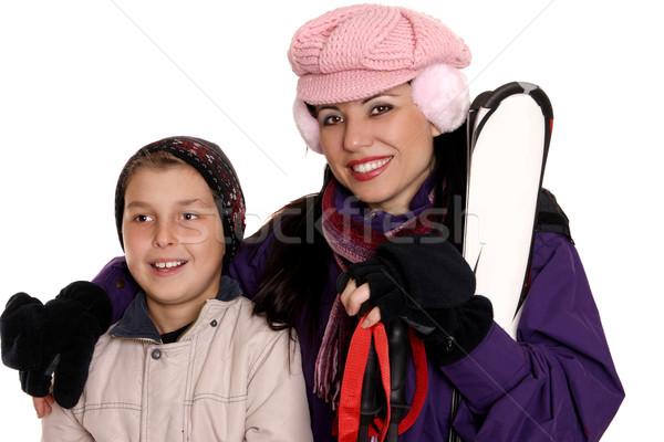 Moeder kind ski versnelling klaar winter Stockfoto © lovleah