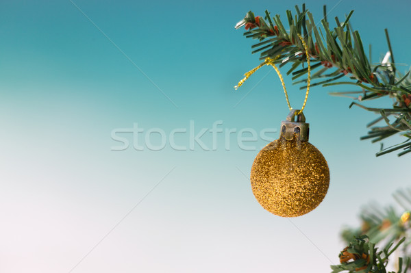 Gold glitter bauble on Christmas tree Stock photo © lovleah