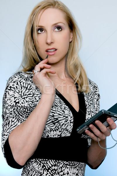 Vrouwelijke pda dacht vrouw denken Stockfoto © lovleah