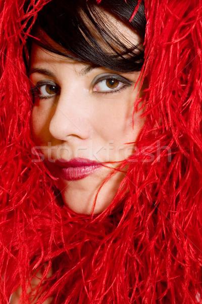 Glamour mode vrouw mooie vrouw Rood veren Stockfoto © lovleah